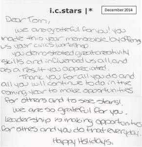 A note from the interns in Cohort 32 from i c stars. You're most welcome!